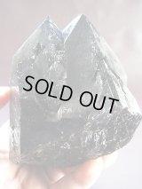 キャビネットサイズ:ブラジル産カテドラル型タントリックツイン・モリオン(黒水晶)原石874g